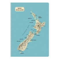 New Zealand Map Notebook - Aqua Blue