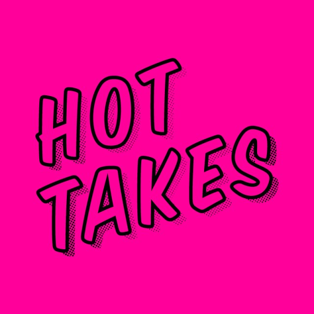 Hot Takes on a fluro pink background