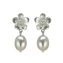 Sterling Silver Manuka Flower Pearl Earrings
