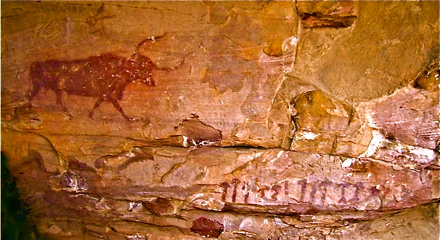 The Selva Pascuala rock painting, with bull at upper left and mushrooms lower right. Photo by Alan Piper