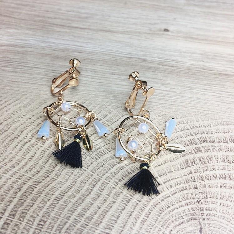 超美氣質金屬線條手工捕夢網流蘇耳環耳釘式造型垂墜飾品