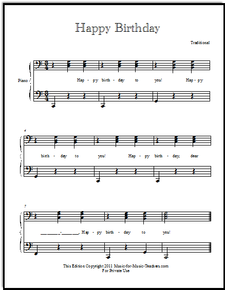 Happy Birthday Free Sheetmusic for All Instruments and Voice