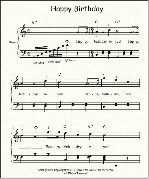 Happy Birthday Free Sheet Music for Guitar, Piano, & Lead Instruments