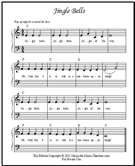 Jingle Bells Sheet Music for Beginner Piano Students