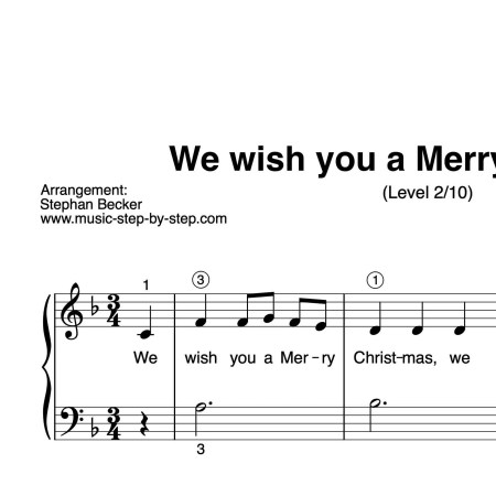 """We wish you a Merry Christmas"" für Klavier (Level 2/10) 