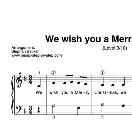"""We wish you a Merry Christmas"" für Klavier (Level 3/10) by music-step-by-step"