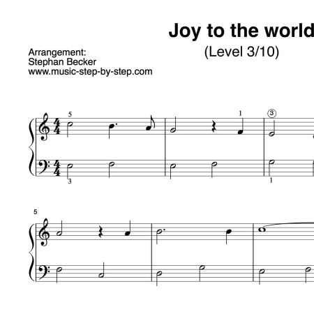 """Joy to the world"" für Klavier (Level 3/10) 
