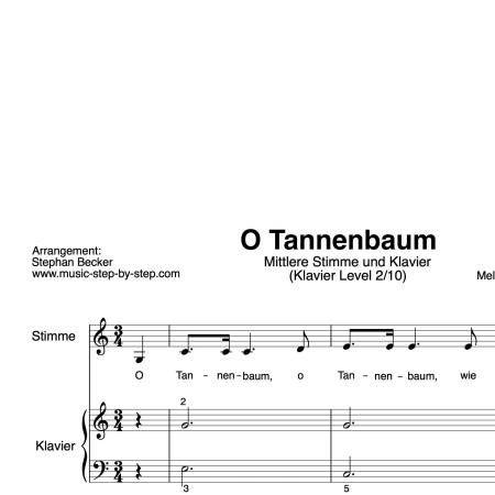 """""""O Tannenbaum"""" für mittlere Stimme (Klavierbegleitung Level 2/10)   inkl. Aufnahme, Text und Begleitaufnahme by music-step-by-step"""