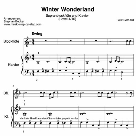 """""""Winter_Wonderland"""" für Blockflöte und Klavier"""