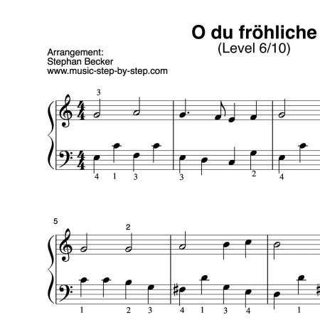 """Noten """"O du fröhliche"""" für Klavier (Level 6/10)"""