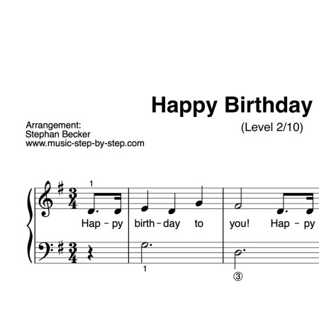 """Happy Birthday To You"" für Klavier (Level 2/10) 