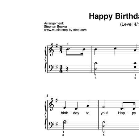 """Happy birthday to you"" für Klavier (Level 4/10) 