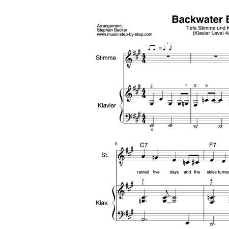 """Backwater Blues"" für tiefe Stimme (Klavierbegleitung Level 4/10) 