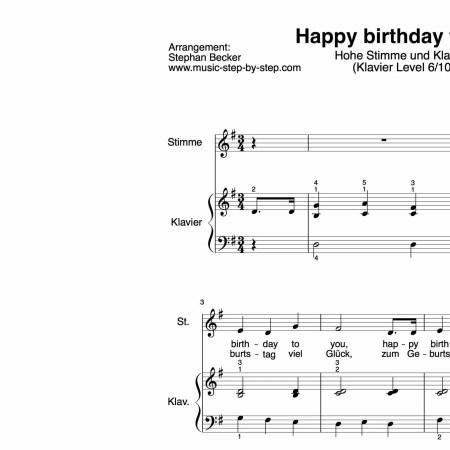 """Happy birthday to you"" für hohe Stimme (Klavierbegleitung Level 6/10) | inkl. Aufnahme, Text und Playalong music-step-by-step"