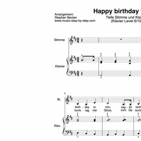 """Happy birthday to you"" für tiefe Stimme (Klavierbegleitung Level 6/10) 