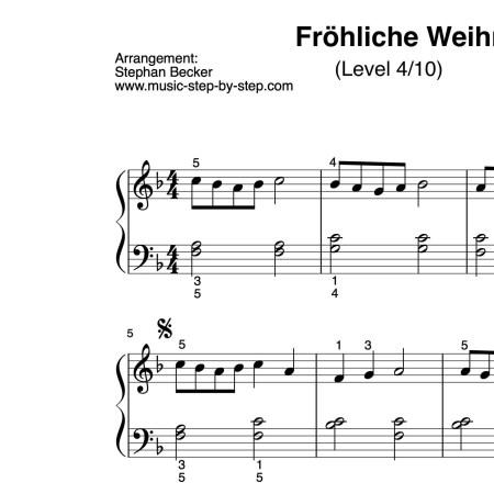 """""""Fröhliche Weihnacht überall"""" für Klavier (Level 4/10)   inkl. Aufnahme und Text"""