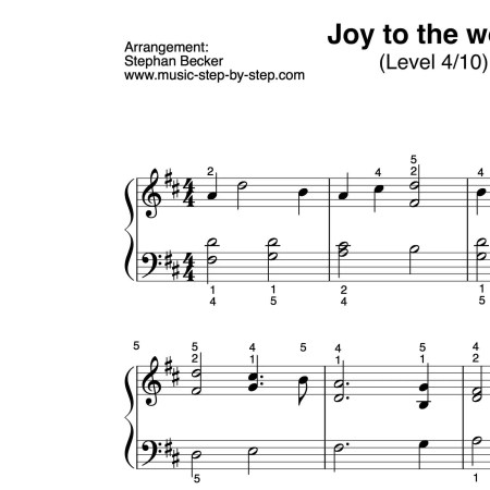 """Joy to the world"" für Klavier (Level 4/10) 