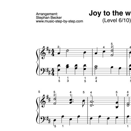 """Joy to the world"" für Klavier (Level 6/10) 