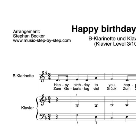 """Happy birthday to you"" für Klarinette in B (Klavierbegleitung Level 3/10) 