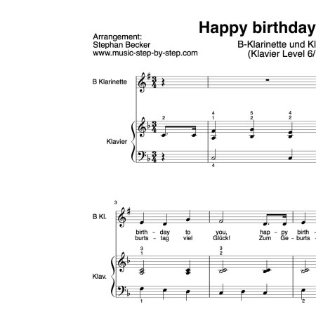 """Happy birthday to you"" für Klarinette in B (Klavierbegleitung Level 6/10) 