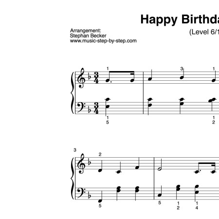 """Happy birthday to you"" für Klavier (Level 6/10) 