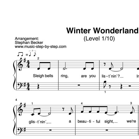 """Winter Wonderland"" für Klavier (Level 1/10) 