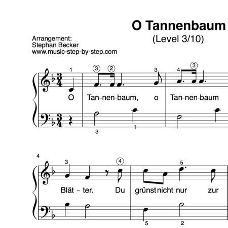 """""""O Tannenbaum"""" für Klavier (Level 3/10)   inkl. Aufnahme und Text music-step-by-step"""