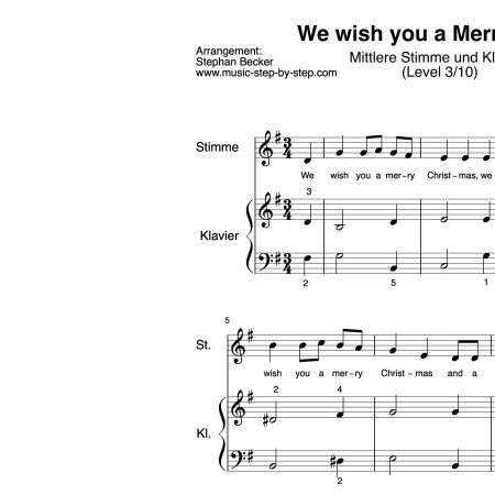 """We wish you a Merry Christmas"" für mittlere Stimme (Klavierbegleitung Level 3/10) 