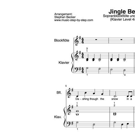 """Jingle Bells"" für Sopranblockflöte (Klavierbegleitung Level 4/10) | inkl. Aufnahme, Text und Playalong music-step-by-step"