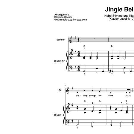 """Jingle Bells"" für hohe Stimme (Klavierbegleitung Level 6/10) | inkl. Aufnahme, Text und Playalong music-step-by-step"