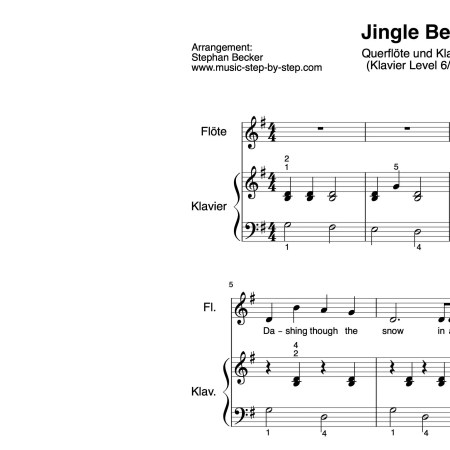 """Jingle Bells"" für Querflöte (Klavierbegleitung Level 6/10)   inkl. Aufnahme, Text und Playalong music-step-by-step"