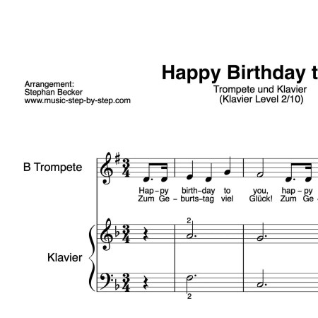 """Happy birthday to you"" für Trompete (Klavierbegleitung Level 2/10) | inkl. Aufnahme, Text und Playalong by music-step-by-step"