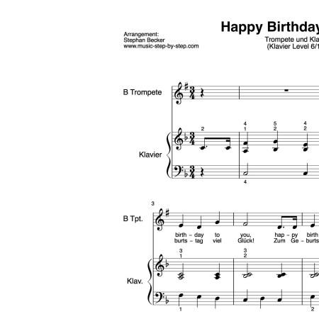 """Happy birthday to you"" für Trompete (Klavierbegleitung Level 6/10) | inkl. Aufnahme, Text und Playalong by music-step-by-step"