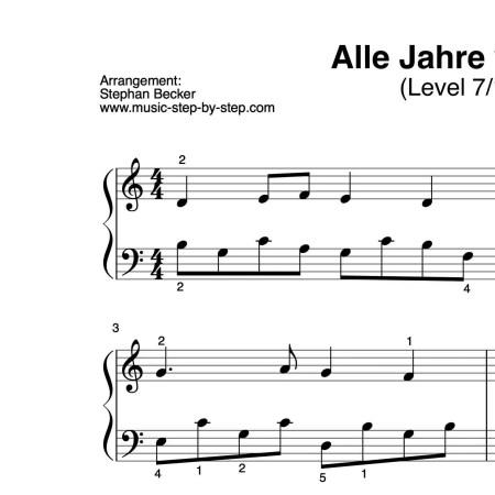 """""""Alle Jahre wieder"""" für Klavier (Level 7/10)   inkl. Aufnahme und Text by music-step-by-step"""