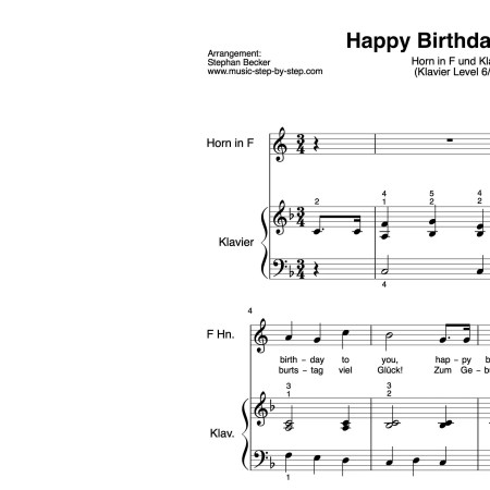 """Happy Birthday to You"" für Horn in F (Klavierbegleitung Level 6/10) 
