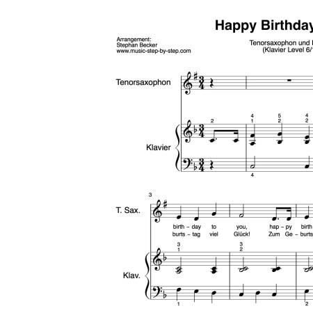 """Happy Birthday to you"" für Tenorsaxophon (Klavierbegleitung Level 6/10) | inkl. Aufnahme, Text und Playalong by music-step-by-step"