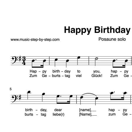 """Happy birthday to You"" für Posaune solo   inkl. Aufnahme und Text by music-step-by-step"