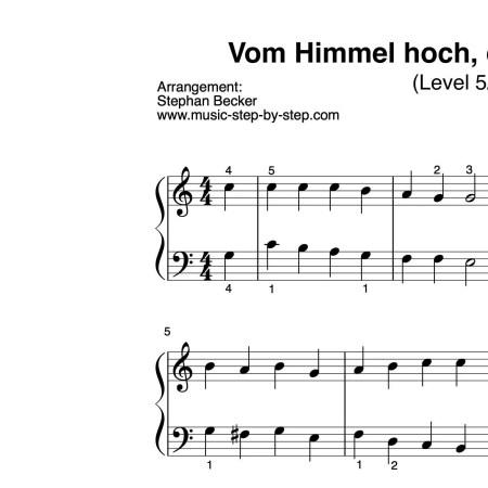 """""""Vom Himmel hoch, da komm ich her"""" für Klavier (Level 4/10)   inkl. Aufnahme und Text by music-step-by-step"""