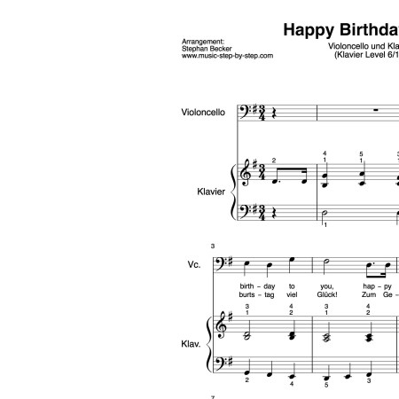 """Happy Birthday to You"" für Cello (Klavierbegleitung Level 6/10) 
