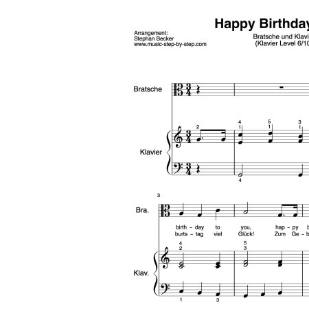 """Happy Birthday to You"" für Bratsche (Klavierbegleitung Level 6/10) 
