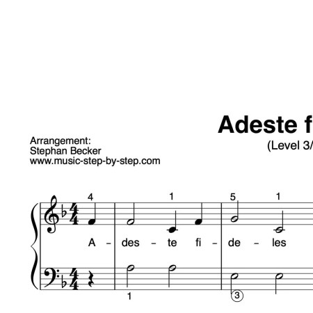 """""""Adeste fideles"""" für Klavier (Level 3/10)   inkl. Aufnahme und Text by music-step-by-step"""