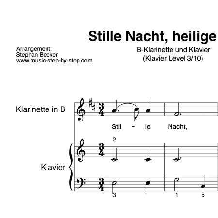 """""""Stille Nacht, heilige Nacht!"""" für Klarinette in B (Klavierbegleitung Level 3/10)   inkl. Aufnahme, Text und Playalong by music-step-by-step"""