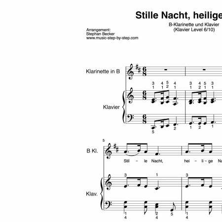 """""""Stille Nacht, heilige Nacht!"""" für Klarinette in B (Klavierbegleitung Level 6/10)   inkl. Aufnahme, Text und Playalong by music-step-by-step"""