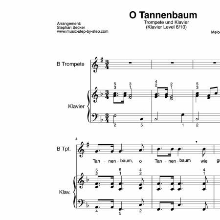 """""""O Tannenbaum"""" für Trompete (Klavierbegleitung Level 6/10)   inkl. Aufnahme, Text und Playalong by music-step-by-step"""