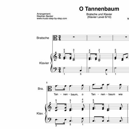 """""""O Tannenbaum"""" für Bratsche (Klavierbegleitung Level 6/10)   inkl. Aufnahme, Text und Playalong by music-step-by-step"""