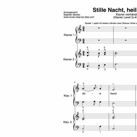 """""""Stille Nacht, heilige Nacht"""" für Klavier vierhändig (Level 3+4/10)   inkl. Aufnahme, Text und Begleitaufnahme by music-step-by-step"""