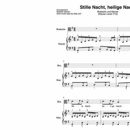 """""""Stille Nacht, heilige Nacht"""" für Bratsche (Klavierbegleitung Level 7/10)   inkl. Aufnahme, Text und Playalong by music-step-by-step"""