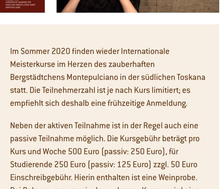 Meisterkurse 2020 – Susanna Bertuccioli