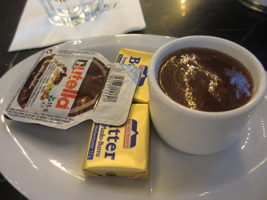 Nutella, butter and jam