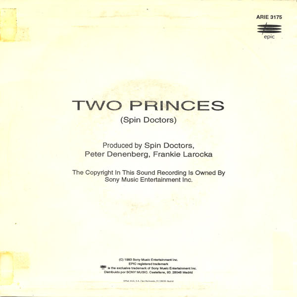 Trasera del single Two princes